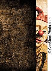 Clown - old funny clown in retro design look