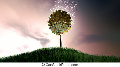 Magical Rand Money Tree - A stylized tree with leaves made...