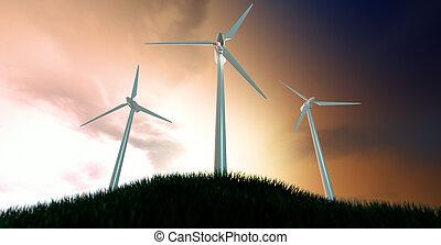Wind Turbines On Grassy Hill At Dawn