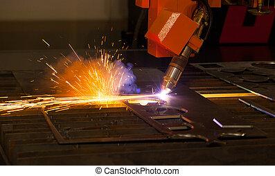 industrial, plasma, corte, máquina