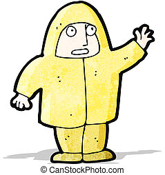 cartoon man in raincoat waving