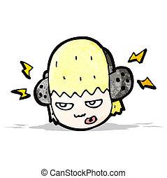 cartoon teenager listening to music