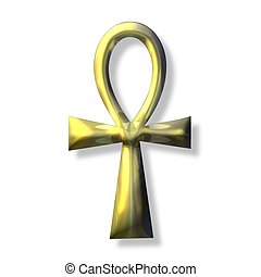 Ankh Symbol - a golden ankh cross over a white background
