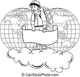 Traveler - Illustration of traveler holding a banner on...