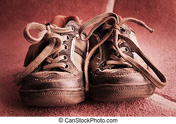 old shoes - Beautiful old sport shoes of a little boy