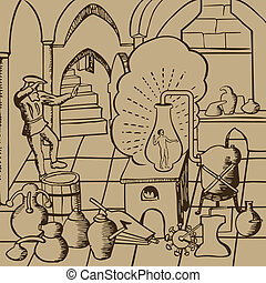 Alchemy2 - Medieval alchemists conducting experiments of...