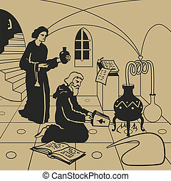 Alchemy - Medieval alchemists carrying out experiments in...