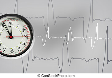 Puls clock - pulsation clock shows the time - five to twelve