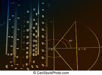 Mathematics - Illuminated numbers and graphic on dark...