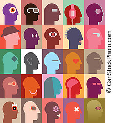 Human Heads - People's Heads vector illustration. Can be...