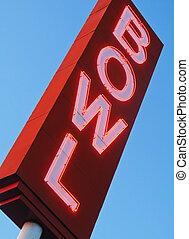 Neon Bowling Alley Sign - Diagonal view of a neon bowling...