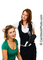 professional woman hairdresser at work - professional woman...