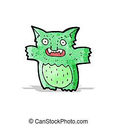 caricatura, poco, verde, duendecillo