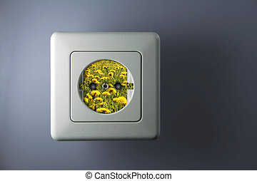free energy - white socket with green and free energy