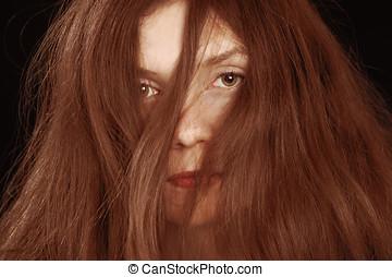 Woman hair mess