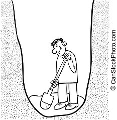 digging man cartoon coloring page - Black and White Cartoon...