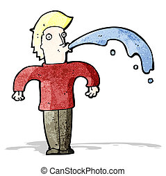cartoon man spitting water