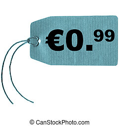 Tag label - Price tag with string isolated over white, 0.99...