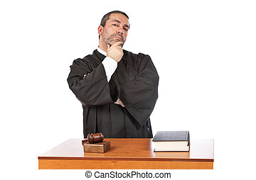 Serious male judge thinking - A serious male judge thinking,...