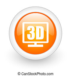 3d display orange glossy web icon on white background