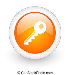 key orange glossy web icon on white background