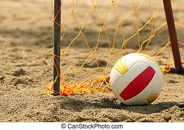 Goal and Ball - Goal on the beach with a volleyball