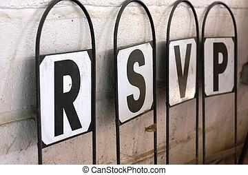 signpost with letters spelling rsvp respondez s'il ous plait...