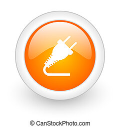 plug orange glossy web icon on white background
