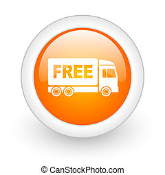 free delivery orange glossy web icon on white background