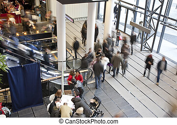 Shopping centre - people in entrance of shopping centre
