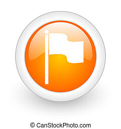 flag orange glossy web icon on white background