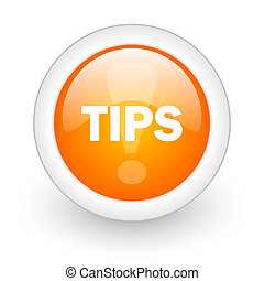tips orange glossy web icon on white background