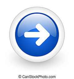 right arrow icon - right arrow blue glossy icon on white...