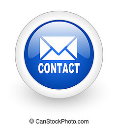 email icon - email blue glossy icon on white background