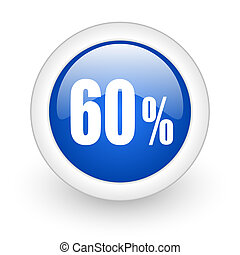 60 percent icon - 60 percent blue glossy icon on white...