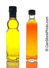 Bottles of olive oil and vinegar - Bottles of extra virgin...