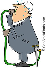 Thirsty Man - This illustration depicts a worker drinking...