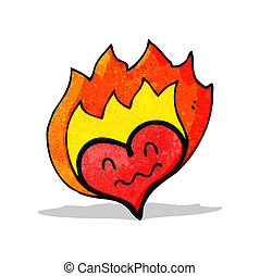 flaming heart symbol cartoon