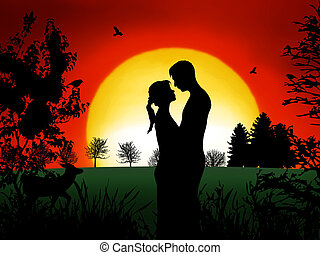Couple in Romance - Romantic couple at in the evening with...