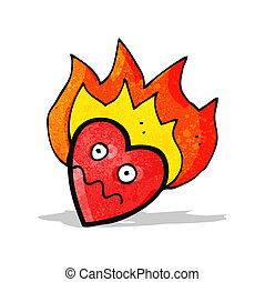 flaming heart cartoon character