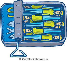 junto,  Cramped, lata, sardinhas, pequeno, homem