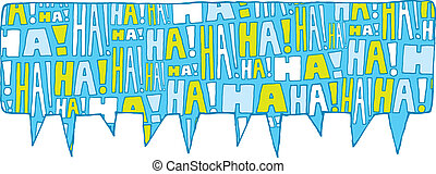 Speech bubble group laughter - Cartoon illustration of...