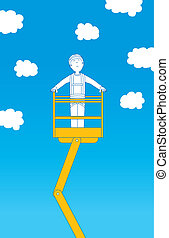 Worker ascending up to the sky on crane