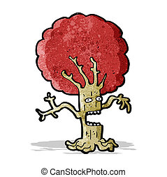 cartoon frightened tree