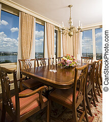 penthouse dining room with view new york city - formal...