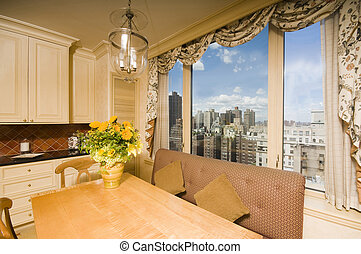 dining table in kitchen nook penthouse new york - eat in...