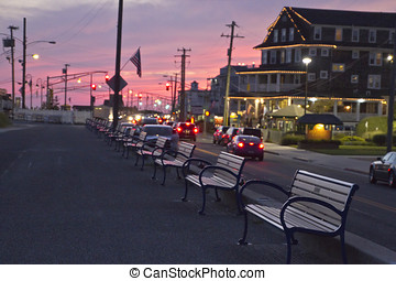 Cape May, New Jersey Walkway at Sunset - View of the benches...