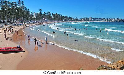 Beach scene in Sydney Australia - Pristine, Remote Beach,...