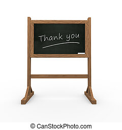3d black chalkboard thank you - 3d rendering of black...