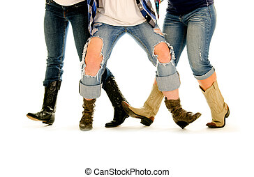Female Legs and Cowboy Boots Line Dance - Three sets of...